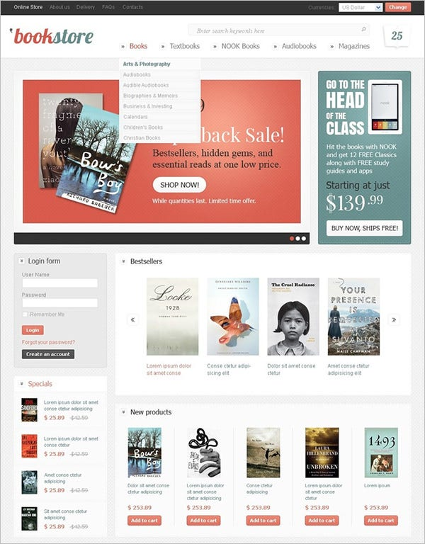 book store virtuemart templates themes free premium free