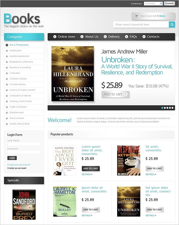 book store virtuemart template 4