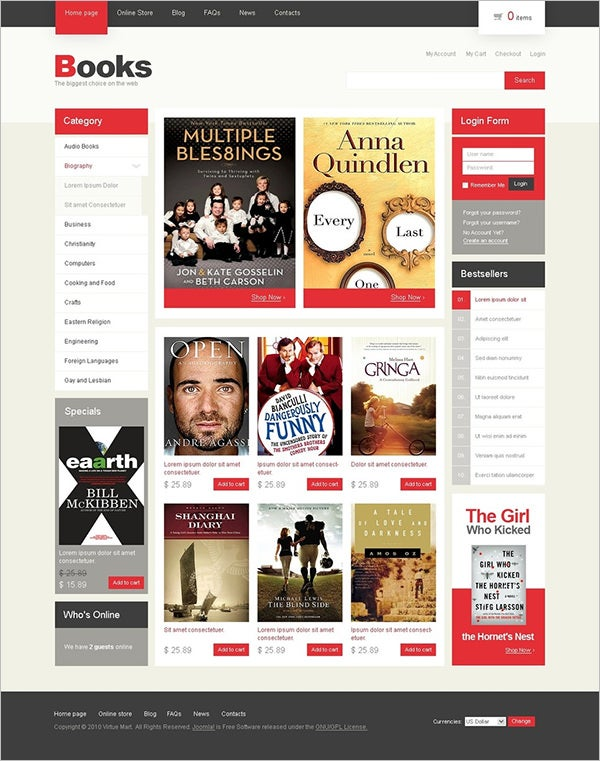 book store virtuemart template 6