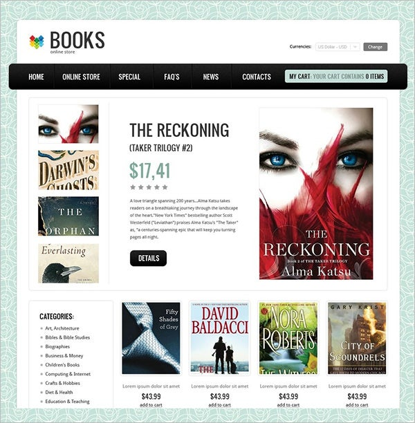 books store virtuemart template
