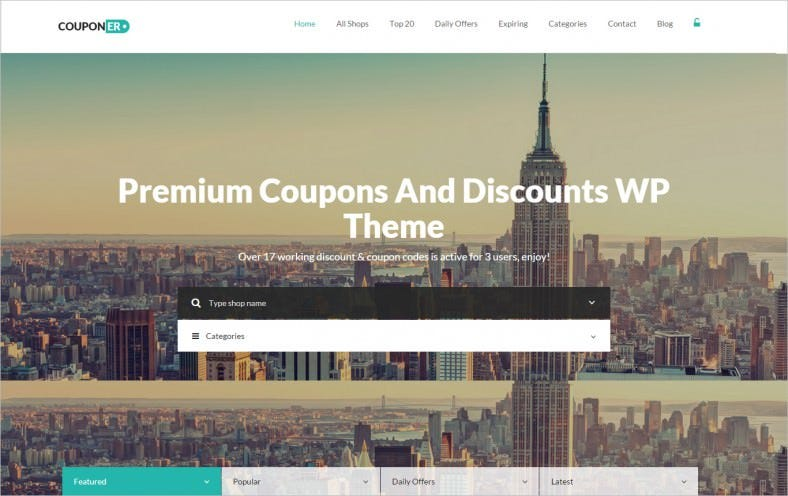 Bootstrap Responsive Coupons U0026 Discounts WP Theme  Coupon Layouts