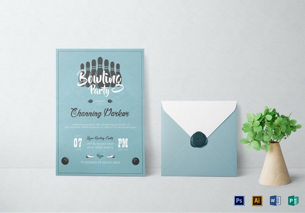 bowling party invitation card template