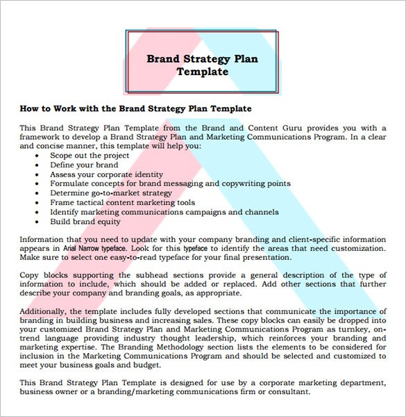 13 brand strategy templates free word pdf documents for Strategic marketing plan template free download