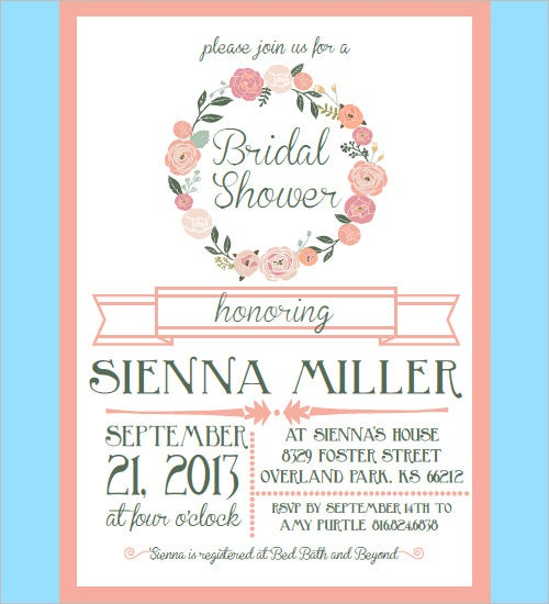 30 bridal shower invitations templates psd invitations for Free bridal shower templates