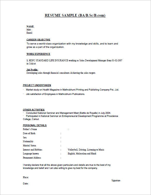 bsc fresher resume template. Resume Example. Resume CV Cover Letter