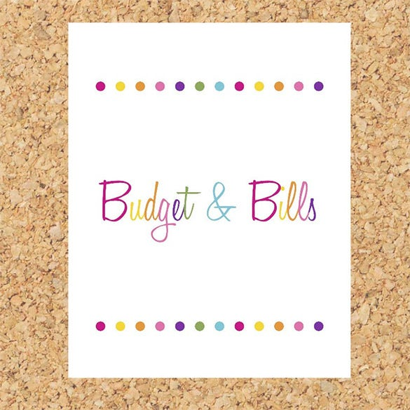 budget bills binder cover sheet template