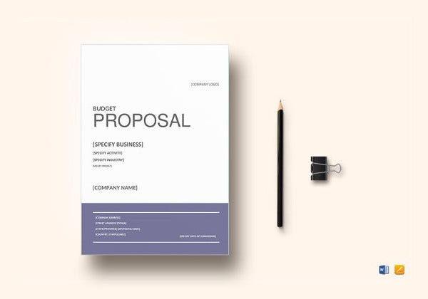 budget proposal word template to print