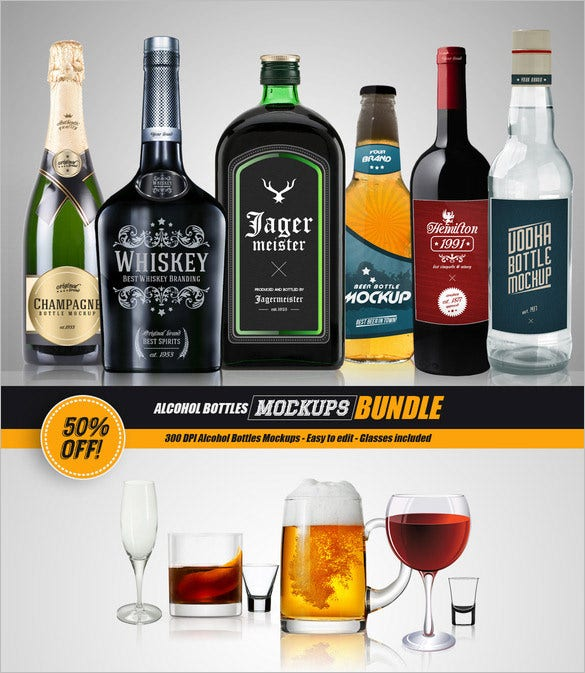 bundle psd bottle mockup template 12