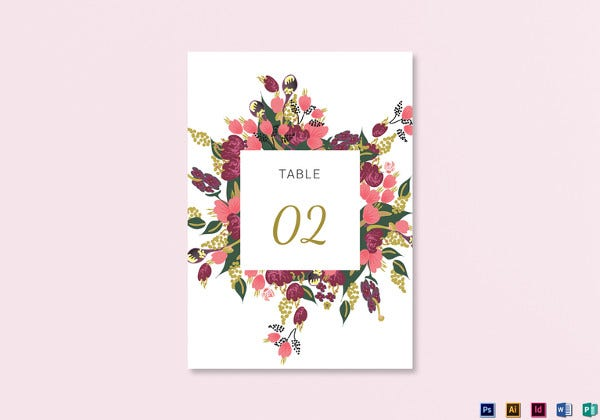 burgundy floral table card template