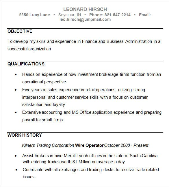 Business Resume Examples  Resume Examples And Free Resume Builder