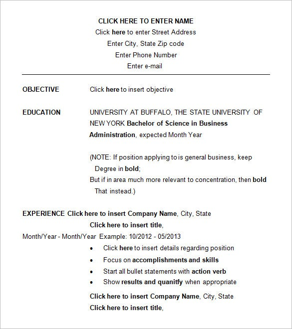 Business Resume Templates  Free Samples Examples  Formats