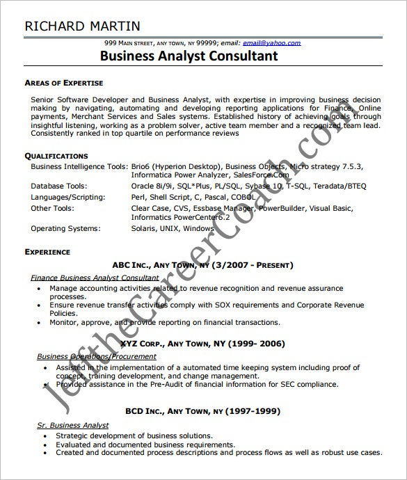 Business Analyst Resume Template 15 Free Samples Examples – It Business Analyst Resume Sample