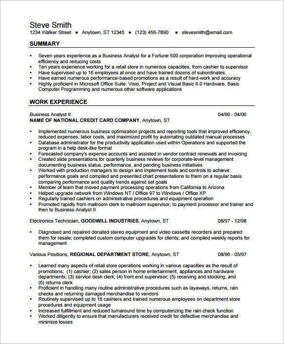 business analyst resume template doc format 2010 sample india