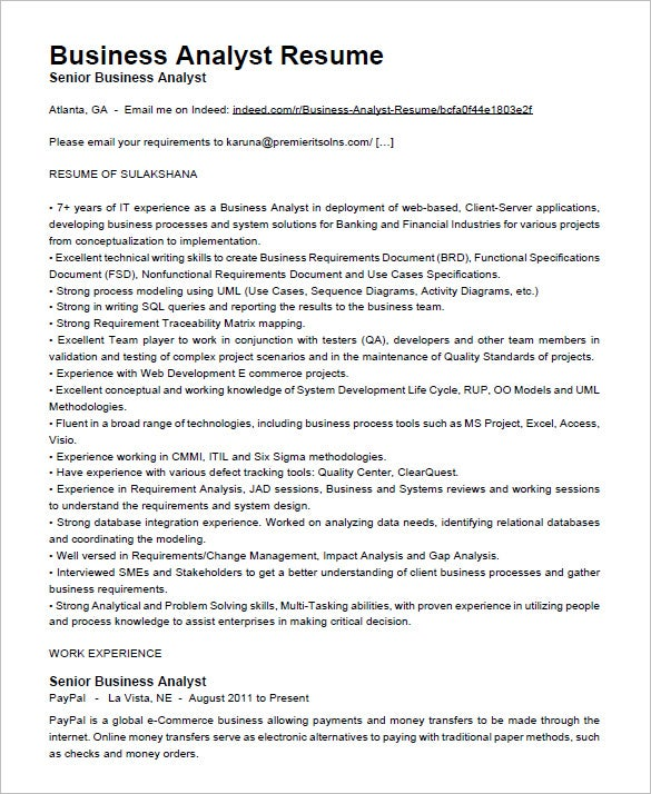 business analyst resume free download