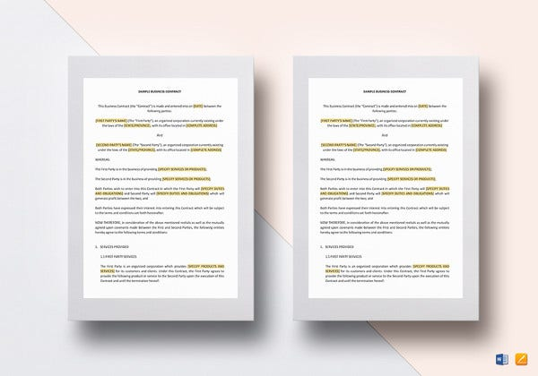 business contract template in word