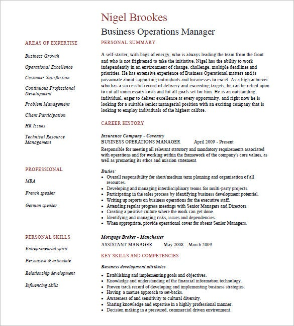 Business Operations Manager Resume  Resume Introduction Samples