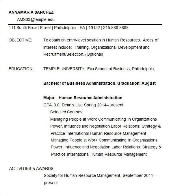 Charmant Business Resume For HRM