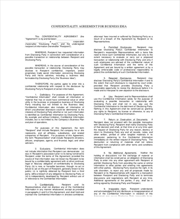 Celebrity Confidentiality Agreement Templates  Free Sample