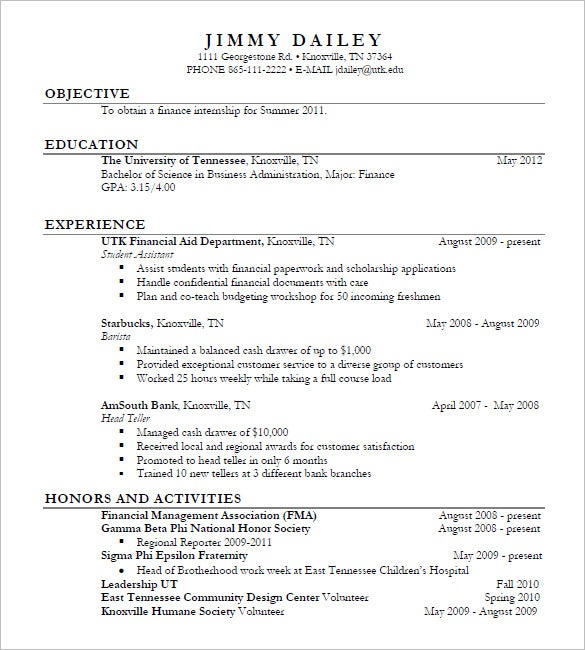 business internship resumes - Resume Examples For Business Internships