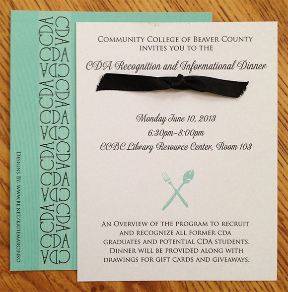 cda dinner invitations and rsvp postcard