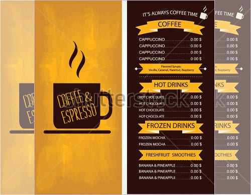 Cafe menu templates psd eps indesign free