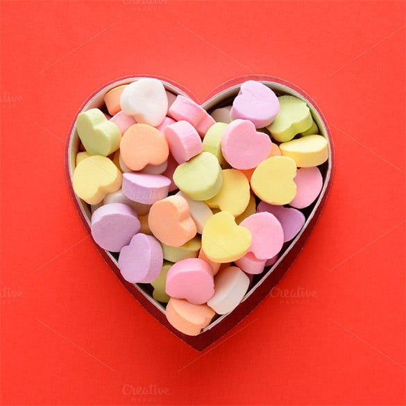 candy hearts in box template