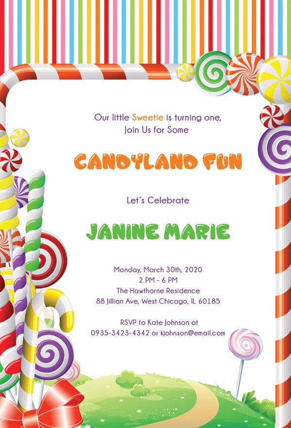 Candyland Birthday Invitation Template Free Download