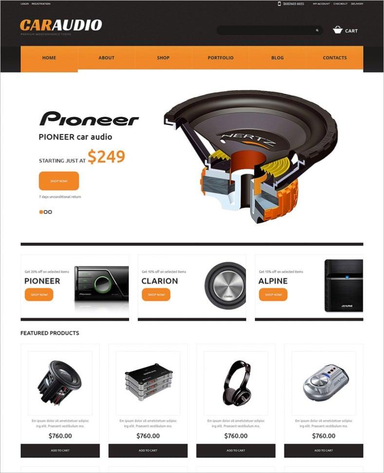 car audio responsive woocommerce theme 788x970