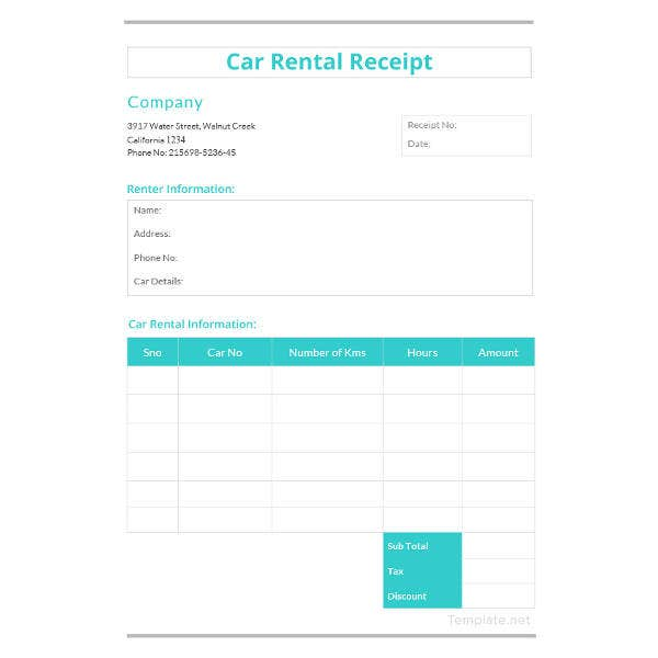 car rental receipt template
