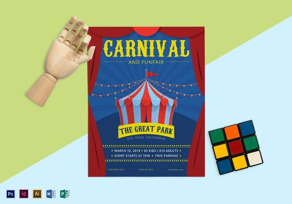carnival and funfair flyer template