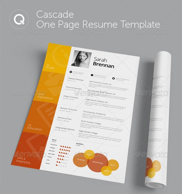 cascade yellow onepage psd template