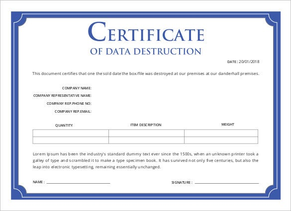 certificate of data destruction template printable certificate template 46 adobe illustrator