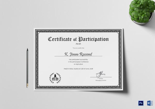 Certificate Participation Template  Certificate Of Participation Template