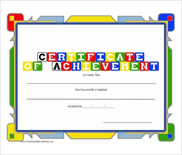 31 fabulous achievement certificate templates designs free certificate of achievement preschool yelopaper Gallery
