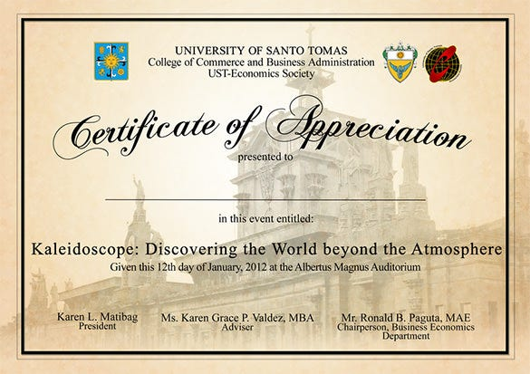 certificate of appreciate
