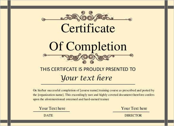 Printable certificate template 46 adobe illustrator for Certificate of completion template free download