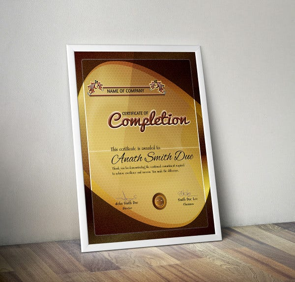 certificate of completion template1