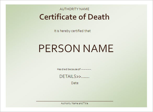 Great Certificate Of Death Template Sample