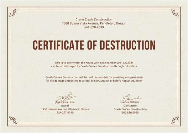 Printable certificate template 35 adobe illustrator documents certificate of destruction template yadclub Gallery