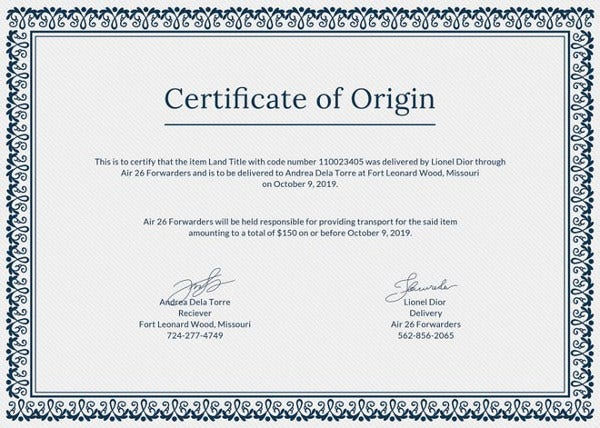 Printable certificate template 35 adobe illustrator for Certificate of origin template