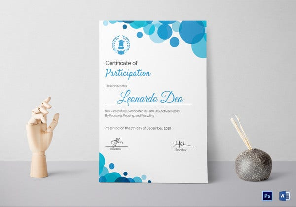 27 participation certificate templates pdf doc psd f free certificate of participation with modern blue frame yelopaper Image collections