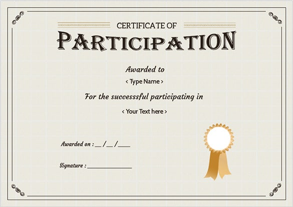 Free certificate template 65 adobe illustrator for Certificate of participation template