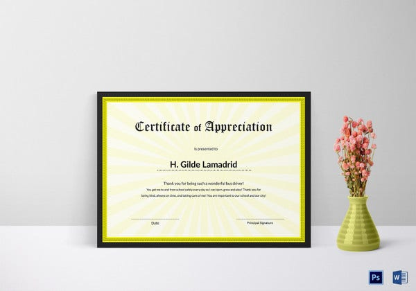 certificate of school appreciation template