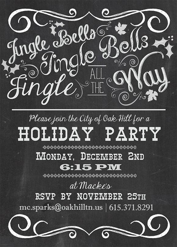chalkboard holiday party invitation