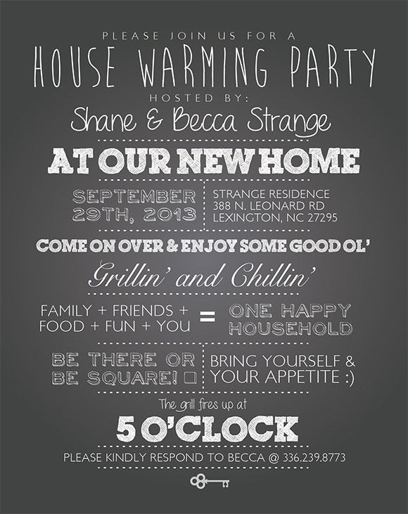 chalkboard house warming invites