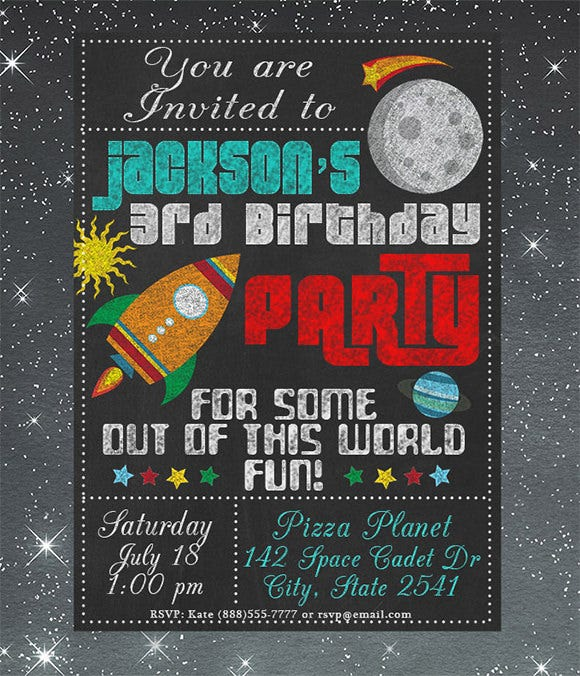 chalkboard space birthday invitation template
