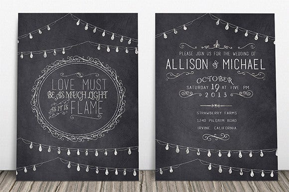 chalkboard wedding invitation thank you templates