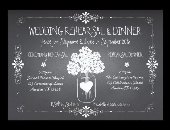 chalkboard wedding rehearsal dinner invitation