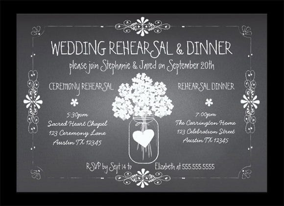 chalkboard wedding rehearsal invitaion template