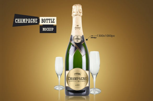 champagne bottle psd mockup template 4